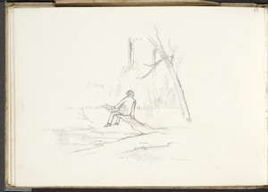 Hill, Mabel 1872-1956 :[Man seated on a branch by a river. 1890?]