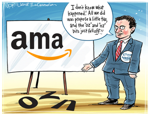 "Ama (Amazon). ""I don't know what happed. All we did was propse a little tax, and the 'oz' and 'nz' bits just fell OFF!"" Stuart Nash"