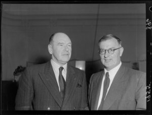 President R R Masters (former All Black and member of The Invinvibles) and Secretary G H Geddes at rugby meeting