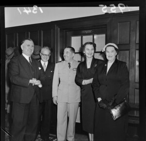 Prime Minister Sidney Holland, French Minister M N Henry, General Augustin Guillaume, Madame Henry and Mrs Florence Holland