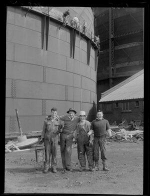 Painters at an unidentified gas works, Wellington