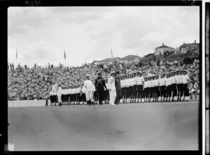 Members of the navy, 1950 British Empire Games opening, Auckland
