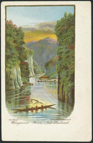 White, Benoni William Lytton, 1858-1950 :Wanganui River, New Zealand. Benoni White del. A D Willis, lithographer, Wanganui, N.Z. [1902].
