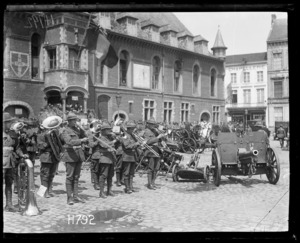 The Duke of Connaught inspects the Victors of Messines, the band and trophies, Market Square Bailleul