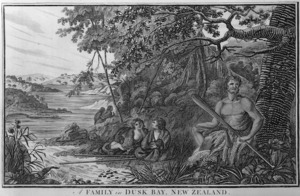 Hodges, William 1744-1797 :A Family in Dusk Bay, New Zealand. Published by Alexr Hogg, May 31, 1791