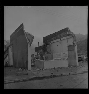Butcher's shop being demolished, Nauranga Gorge, Wellington