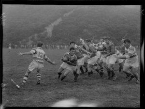 Onslow versus Marist rugby teams playing at Melrose Park, Wellington