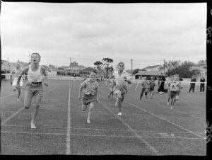 Junior athletics, boys' running race at the Basin Reserve, Wellington