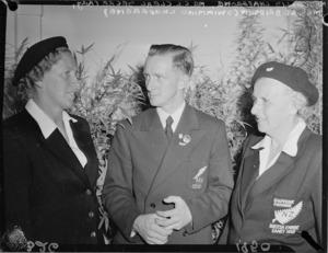 Chaperone Mrs C L Cleal, Organising Secretary, and Swimming Chaperone Mrs A D Bridson, 1950 British Empire Games, Auckland