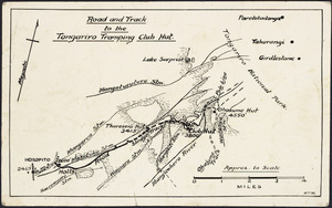 [Creator unknown] :Road and track to the Tongariro Tramping Club Hut [copy of ms map]. [1930s-1940s]