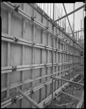 Wall of John Lysaght NZ Ltd building under construction, Wellington