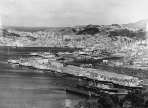 Ships in Wellington Harbour during the 1951 wharf strike