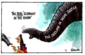 The REAL 'elephant in the room' Business. The decline in social justice.