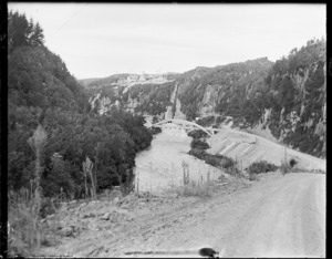 View of valley and bridge at Maraetai