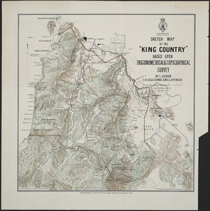 Sketch map of the King Country based upon trigonometrical & topographical survey [cartographic material] / by L. Cussen, F.H. Edgecumbe & W.C.C. Spencer ; drawn by C.R. Pollen, Auckland, August 22nd. 1884.
