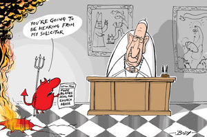 "[Pope Francis says Satan ""uncovered"" the child abuse sins of Catholic bishops in order to scandalise the faithful]"
