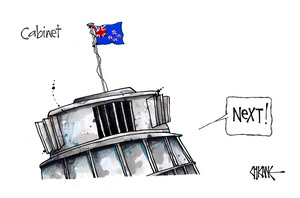 "[Cabinet -Beehive flies New Zealand flag for the ""next"" in line]"