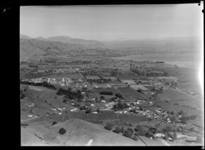 View over South Nelson city with orchards to the Waimea Inlet and the town of Richmond beyond
