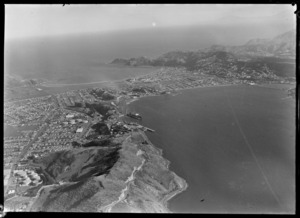 View south over the Miramar Peninsula and Evans Bay to Wellington Airport and the suburb of Kilbirnie, Wellington City