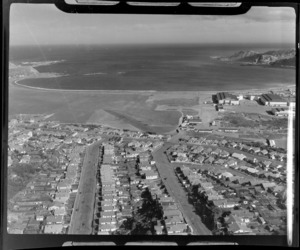 View over the suburb of Rongotai with Wellington Airport and Lyall Bay beyond, Wellington City