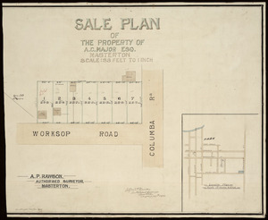 Rawson, Alfred Pearson, fl 1893-1912 :Sale plan of the property of A. C. Major Esq., Masterton [ms map]. A. P. Rawson, Authorised surveyor, Masterton, August 29th 1905