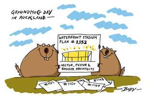 "Two groundhogs hold up Auckland's ""Waterfront Stadium Plan #1,152"" by Hector, Pester & Badger Architects"