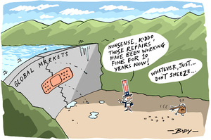"Uncle Sam reassures little kiwi bird that the bandaid on the leaky ""Global Markets"" dam has ""been working find for 10 years now!""."