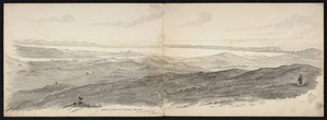 Backhouse, John Philemon 1845-1908 :Manukau Harbor from Onehunga to the Heads from the top of Mt Eden, Auckland. 30.6.[18]71.