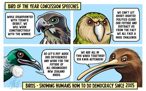 Bird of Year Concession Speeches. Birds - showing humans how to do democracy since 2005.