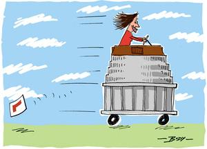 [Jacinda Ardern driving Parliament]