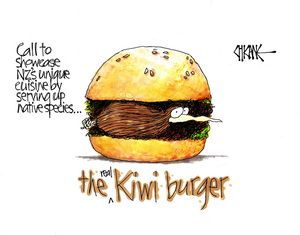 Call to showcase NZ's unique cusine by serving up native species. The real Kiwi burger