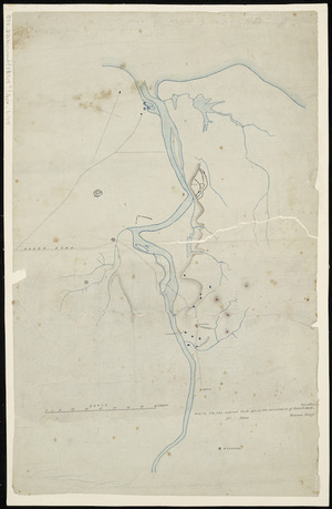 [Creator unknown] :[Waitara district, showing pas in the occupation of Ihaia and his allies, also Wiremu Kingi] [ms map]. [1859?]