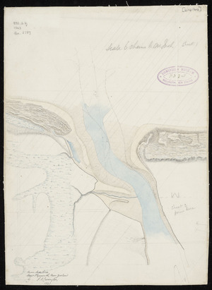 Carrington, Frederic Alonzo, 1808?-1901 :River Waitara, New Plymouth, New Zealand [ms map]. By F.A. Carrington, 1843.
