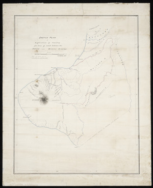 Kirkby, J V T, fl 1875 :Sketch plan of exploration of country for line of road between the Patea and Mokau Rivers [ms map]. 1875