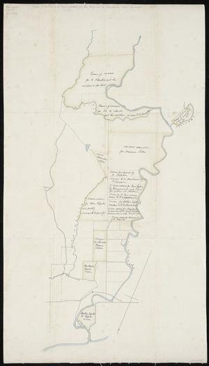 [Creator unknown] :[Sketch of sections and Maori reserves in Hua Block, near the Waiwakaiho River, Taranaki] [ms map]. [1884]