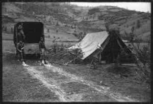 Reception tent, 5th Advanced Dressing Station, Olympus Pass, Greece, during World War II - Photograph taken by Ian Macphail