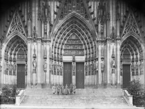 New Zealanders standing on the steps of Cologne Cathedral, Germany