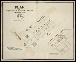 Rawson, Alfred Pearson, fl 1893-1912 :Plan of subdivision of Mr. Jepson's Estate. Masterton [ms map]. A. P. Rawson, authorised surveyor, Masterton, Sept. 1905