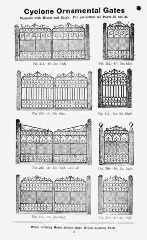 Cyclone Fence & Gate Co. Ltd :Cyclone ornamental gates. When ordering gates always state width between posts. [Catalogue page. 1900-1910?].