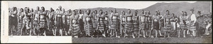 Photographer unknown :Maori haka (No. 5). Design registered by Harding & Billing, no. 183. 12/6/03. [Letter card. 1903].