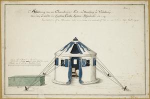 Artist unknown :Aftekening van een observatoriums tent in navolging en verbetering van die, dewelke in Captain Cook's reisen afgebeeld is. Plate 1 [ca 1780?]