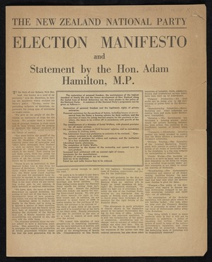 New Zealand National Party: Election manifesto and statement by the Hon. Adam Hamilton, M.P. [1938]