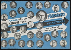 New Zealand National Party: Forward with National ... with a strong, able, experienced Government. Printed by Whitcombe & Tombs Limited [1954]