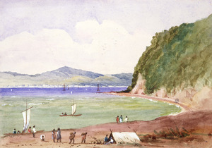 [Fox, William] 1812-1893 :[Wellington Harbour looking along the Hutt Road to the town of Wellington, 1850s?]