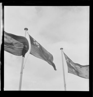 Flag flying during the Colombo Plan Conference - Burma