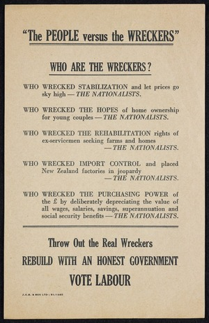 """New Zealand Labour Party: """"The people versus the Wreckers"""". Who are the Wreckers? [Printed by] J.C.E. & Son Ltd :51/1380 [1951]"""