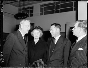 John Foster Dulles with his wife and Mr Scotten