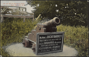 [Postcard]. An old gun in Pukekura Park, New Plymouth, N.Z. Whalley & Co., Photo. Copyright. No. N.P.2. Fergusson Limited [printers. ca 1904-1914]