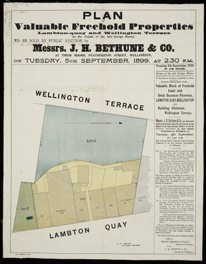 Plan of valuable freehold properties, Lambton Quay and Wellington Terrace [cartographic material].