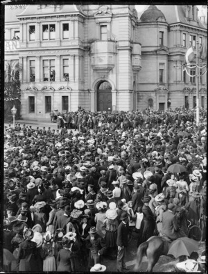 Part two of a two part panorama showing a welcome reception for New Zealand Governor, Lord Plunket, outside the Auckland Municipal Buildings